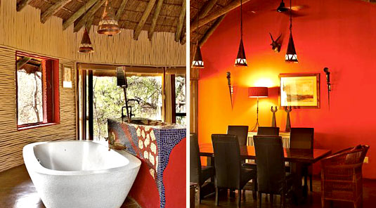 Jaci's Safari Lodge - Madikwe Game Reserve - Mongoose House Suite Bathroom & Dining Room