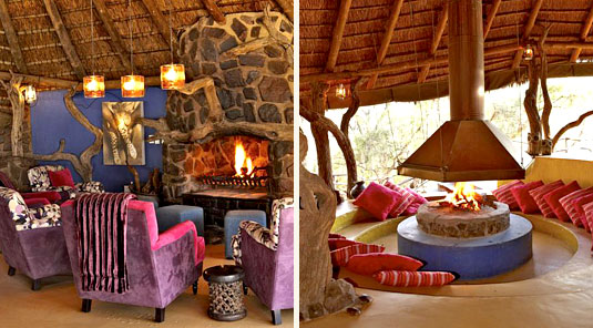 Jaci's Safari Lodge - Madikwe Game Reserve - Main Lodge & Fire Place